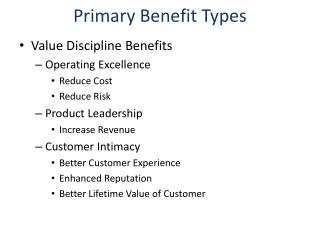 Primary Benefit Types