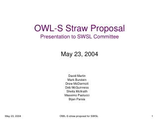 OWL-S Straw Proposal Presentation to SWSL Committee May 23, 2004