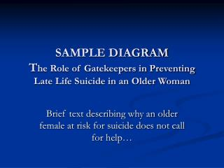 SAMPLE DIAGRAM T he Role of Gatekeepers in Preventing Late Life Suicide in an Older Woman