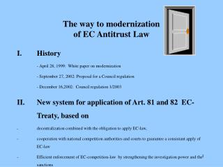 The way to modernization of EC Antitrust Law