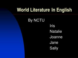 World Literature In English