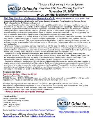 Full Day Seminar  General Dynamics C4S:  Friday, November 20, 2009, 8:30   5:00