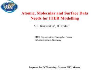 Atomic, Molecular and Surface Data Needs for ITER Modelling