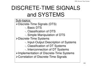 DISCRETE-TIME SIGNALS and SYSTEMS