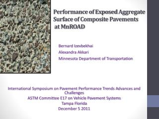 Performance of Exposed  Aggregate Surface  of Composite  Pavements at  MnROAD