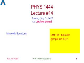 PHYS 1444  Lecture #14