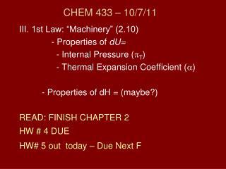 CHEM 433 – 10/7/11