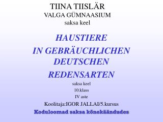 TIINA TIISLÄR VALGA GÜMNAASIUM saksa keel