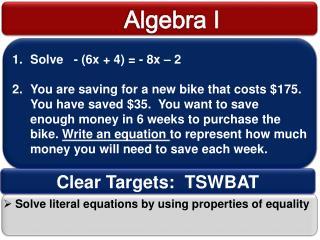 Solve   - (6x + 4) = - 8x – 2