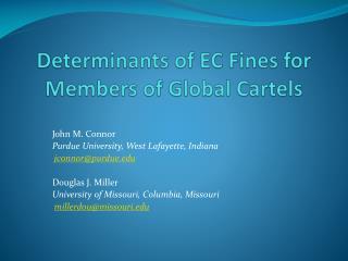 Determinants of EC  Fines for Members  of Global  Cartels