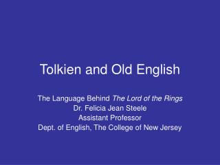Tolkien and Old English