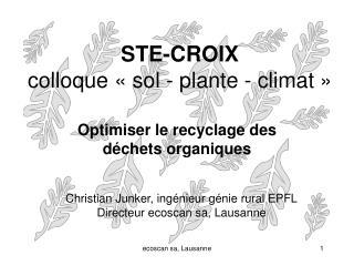 STE-CROIX colloque «sol - plante - climat»