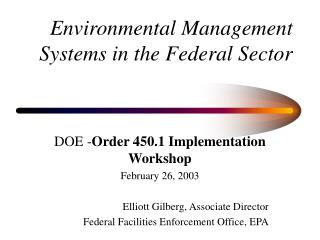 Environmental Management  Systems in the Federal Sector