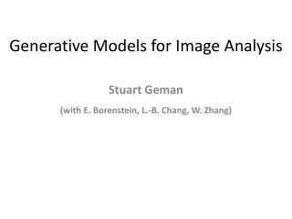 Generative Models for Image Analysis