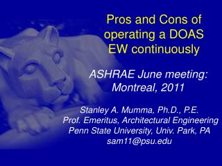 Pros and Cons of operating a DOAS EW continuously