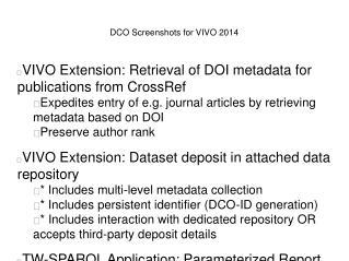 DCO Screenshots for VIVO 2014