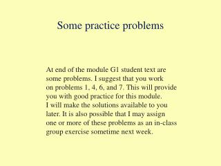 Some practice problems