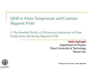 Neda Sadooghi Department of Physics Sharif University of Technology Tehran-Iran