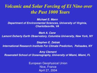Volcanic and Solar Forcing of El Nino over the Past 1000 Years