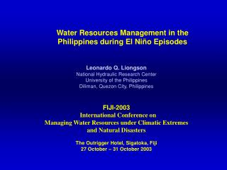 Water Resources Management in the                   Philippines during El Niño Episodes