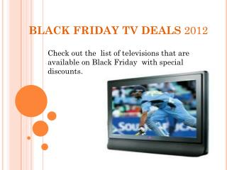 Black Friday TV Deals 2012