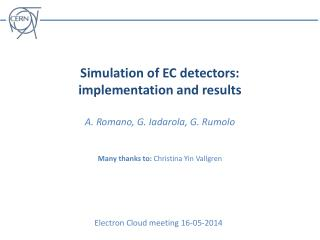 Electron Cloud meeting 16-05-2014