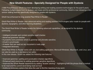 New Ghotit Features - Specially Designed for People with Dyslexia
