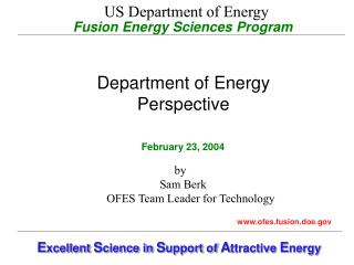 Fusion Energy Sciences Program