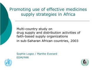 Multi-country study on drug supply and distribution activities of faith-based supply organizations