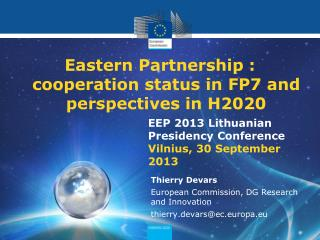 Eastern Partnership : cooperation status in FP7 and perspectives in H2020
