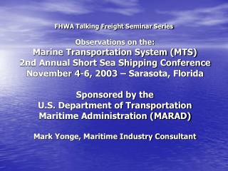 FHWA Talking Freight Seminar Series