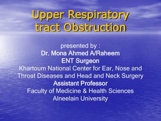 Upper Respiratory tract Obstruction