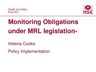 Monitoring Obligations under MRL legislation-