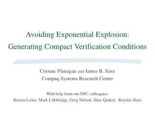 Avoiding Exponential Explosion: Generating Compact Verification Conditions
