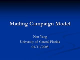 Mailing Campaign Model