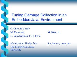 Tuning Garbage Collection in an Embedded Java Environment