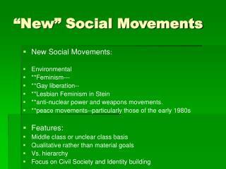 �New� Social Movements