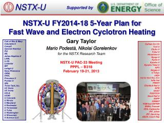NSTX-U FY2014-18 5-Year Plan for  Fast Wave and Electron Cyclotron Heating