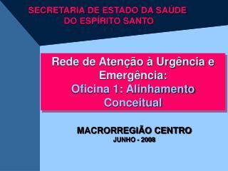 Rede de Aten  o   Urg ncia e Emerg ncia: Oficina 1: Alinhamento Conceitual