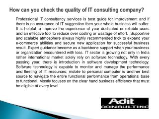 How can you check the quality of IT consulting company?