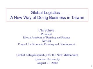Global Logistics --  A New Way of Doing Business in Taiwan