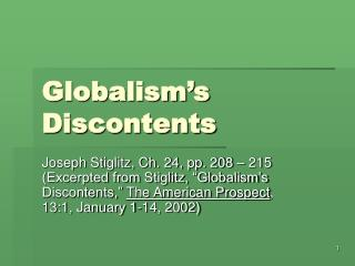 Globalism's Discontents