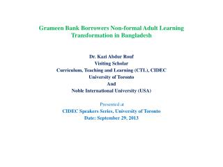 Grameen Bank Borrowers Non-formal Adult Learning Transformation in Bangladesh