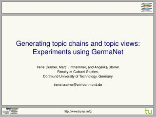 Generating topic chains and topic views: Experiments using GermaNet