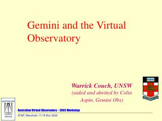 Australian Virtual Observatory – 2003 Workshop
