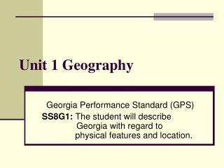 Unit 1 Geography