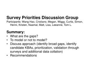 Survey Priorities Discussion Group