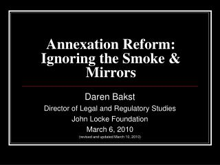 Annexation Reform: Ignoring the Smoke & Mirrors