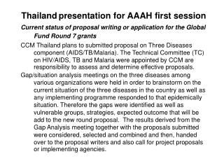 Thailand presentation for AAAH  first session