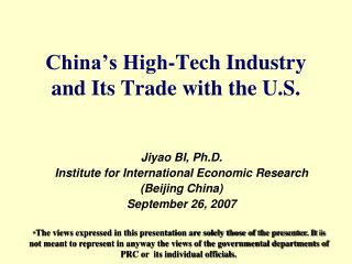 China's High-Tech Industry and Its Trade with the U.S.